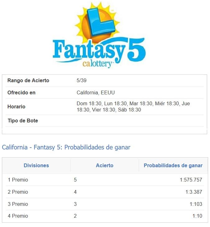 Loterías California fantasy 5 - características