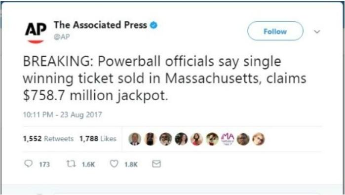 el mayor premio ganado por un solo boleto en la historia de las loterías